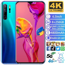 Load image into Gallery viewer, 2020 Hot High Version 9.1 6.3 Inch Water Drop Screen  MTK6797 10 Core 8G+256G Dual SIM Card Dual Standby GPS GSM 4G5G Smartphone.