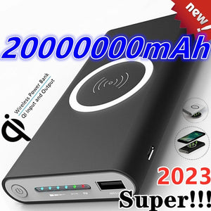 2023 Super !!!   Ultra-huge Capacity Power Bank Wireless Charger for Phones Dual USB External Battery Batteries