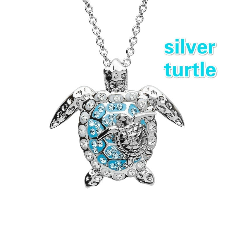 Ocean Jewelry 4 Style Animal Necklace for Women Sterling Silver Fashion Women Necklace Ocean Style Blue Cute Accessories Gifts for Family