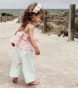 Summer Toddler Kids Baby Girl Clothes Ruffle Tops Crop Long Pants 3PCS Outfits Sunsuit 1-6 Years