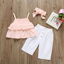 Load image into Gallery viewer, Summer Toddler Kids Baby Girl Clothes Ruffle Tops Crop Long Pants 3PCS Outfits Sunsuit 1-6 Years