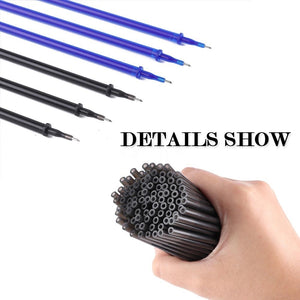 60PCS Gel Ink Pen Refill + 1PC Gel Ink Pen / SET 0.5mm Erasable School Office Full Needle Erasable Gel Ink Pen Replacement
