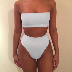Women Off Shoulder Crop Top Bodycon High Waist Lingerie 2Pcs/Set Outfits Push Up Bikini Set Bathing Suits Swimsuit Swimwear\t