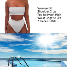 Load image into Gallery viewer, Women Off Shoulder Crop Top Bodycon High Waist Lingerie 2Pcs/Set Outfits Push Up Bikini Set Bathing Suits Swimsuit Swimwear\t