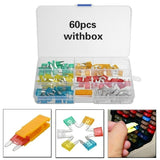60Pcs Mini Blade Fuse Mixed Mini Standard Blade Fuse Car Auto 5A 7.5A 10A 15A 20A 25A 30A