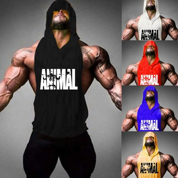 New Men's Tank Tops Summer Gym Fitness Printed Compression Hooded Vest Tops Sportswear Running Jogging Muscle Vest Sleeveless T-shirt