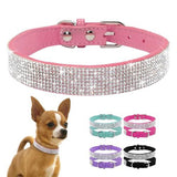 S-XL Soft Adjustable Suede Leather Puppy Dog Collar Rhinestone Cat Pet Pink Collar Suit Pet Supplies