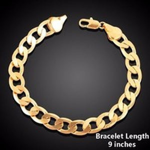 Men's Jewelry 8 Mm 18-30 Inches Thick Compact 18k Gold Padded Heavy Solid Double Cuban Necklace Link Chain and Bracelet Unisex Party Classic Long Simple Snake Chain Link Jewerly Figaro Necklace and Bracelet, Bracelet Width: 6mm, 8mm, 10mm, 12mm