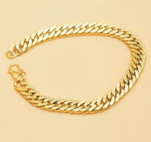 Load image into Gallery viewer, Men's Jewelry 8 Mm 18-30 Inches Thick Compact 18k Gold Padded Heavy Solid Double Cuban Necklace Link Chain and Bracelet Unisex Party Classic Long Simple Snake Chain Link Jewerly Figaro Necklace and Bracelet, Bracelet Width: 6mm, 8mm, 10mm, 12mm