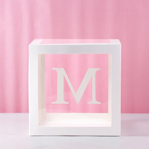 A-Z Baby Shower Boxes Transparent Balloons Packing Letter Party Decor