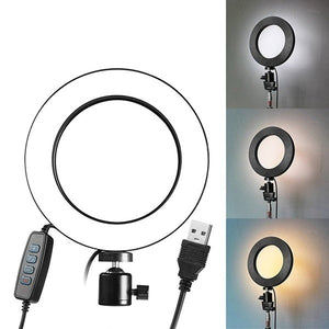 Dimmable LED Ring 5500K Fill Light Without Tripod for Camera Photo Studio Selfie Photography USB Phone Video Live