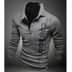 New Fashion  Mens Printed Long Sleeve Shirt Casual Slim Stand Collar Pullover Tops Size XS-3XL