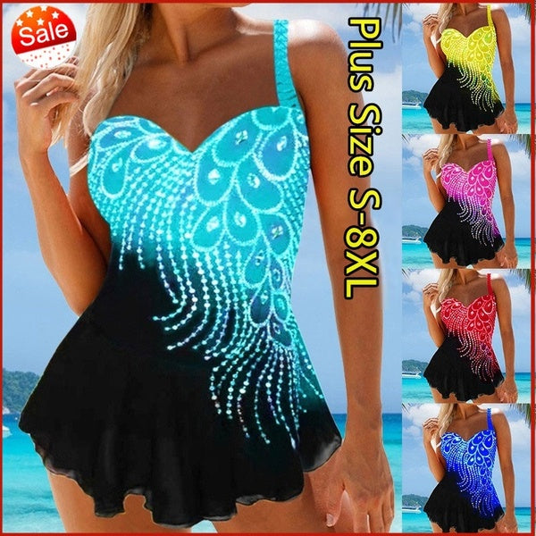 Women Fashion Peacock Pattern Swimsuits Printed Summer Tankini Set Swimwear Plus Size S-8XL