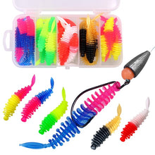 Load image into Gallery viewer, Micro Tail Insect Soft Fishing Lure Soft Baits Lake River Trout Bass Fishing Lures Soft Silicone Grubs Tailed Fishing Worm Bait 40Pcs