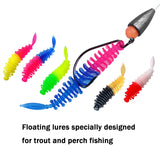 Micro Insect Soft Fishing Lure Soft Baits Grub Worms Swimbaits Lake River Trout Bass Fishing Lures Soft Plastic Fishing Lures Kit 40Pcs