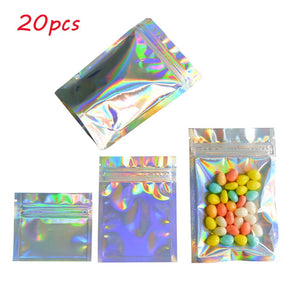 20 Pcs Zip lock Plastic Bag Aluminum Foil Hologram Food Pouch Pack Self Seal Storage Ziplock Bags Resealable Pouches Packaging Bag