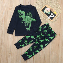 Load image into Gallery viewer, 2pcs/set Child Girls Boys Pyjamas Set Dinosaur Print Kids Pjs Pajama Long Sleeve Cotton Sleepewar Tops Shirts & Pants Nightwear Children Outfit Fit For 1-7 Years Kids
