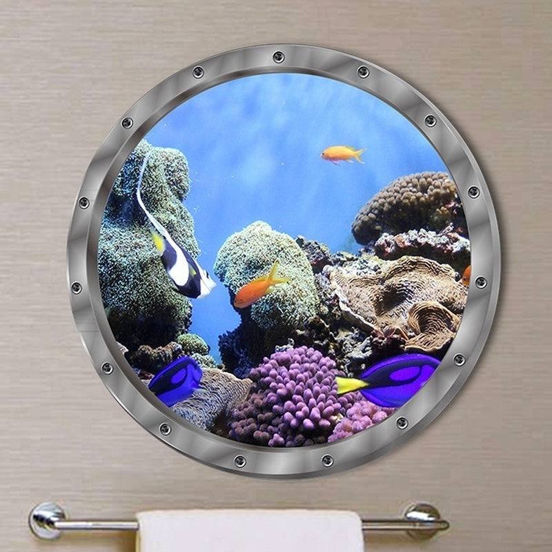 1Pc 3D Wall Stickers Dolphin Turtle Sea Lions Clownfish Ocean Animals Wall Sticker Decals Vinyl Mural Room Decor Machine Decoration