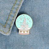 Fantasy Magical Castle Enamel Pin Fairy Crystal Ball Brooch Amusemen Park Childhood Jewelry Christmas Gift for Children