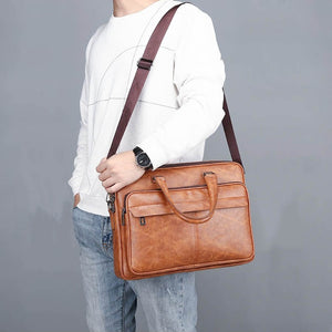 New Design Luxury Leather! Men's Business Tote Retro Briefcase Shoulder Messenger Bag Laptop Bag (2 size 3 Color)