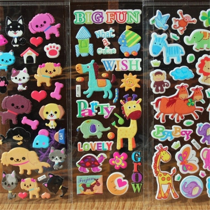 30/10Pcs Brand Kids Toys Cartoon Cute Animals Zoo 3D Stickers Children girls boys PVC Stickers Bubble Stickers