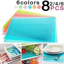 Load image into Gallery viewer, 2/4/6/8PCS Fashion Refrigerator Pad Antibacterial Antifouling Mildew Moisture Absorption Pad Refrigerator Mats