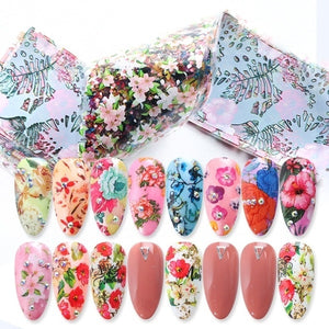 10 Pieces of Flower Nail Decals Colorful Nail Decals Transfer Decorative Nail Stickers DIY Adhesive