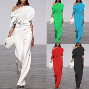 2020 Women's Fashion Short Sleeve Off Shoulder Sexy Solid Color Wide Leg Jumpsuits S-5XL