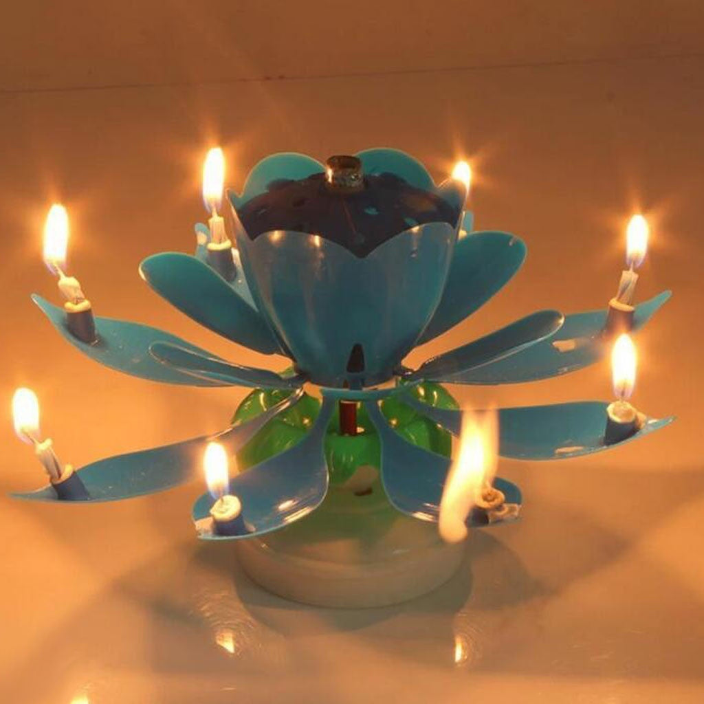 Rotating Lotus Cake Candle Decorating Supplies Electronic Candle Holder With Music