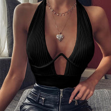 Load image into Gallery viewer, Women Tank Top White Black Crop Top Halter Sexy Solid Color Vest Bras Deep V-neck Casual Cotton Slim Tops