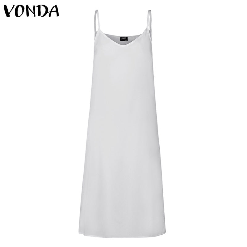 VONDA Casual Women Sleeveless Solid Color Knee Length Simple Bottoming Dress Summer Dresses Plus Size