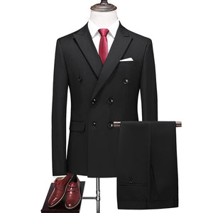 Spring and Autumn New Quality Men's Slim Suit Two-piece Men's Banquet Business Casual Dress Set 8 Color XS-3XL