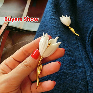 3 Colors 1pc Tulip Flower Brooch Girl Gorgeous Flower Brooch Women Fashion Accessories