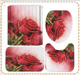 Love Red Rose Shower Curtain Bath Mat Toilet Lid Cover Pedestal Rug Bathroom Decoration Set