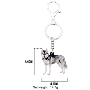 Acrylic Siberian Husky Dog Keychains Jewelry Animal Pendants Key Rings Ornaments Bags Purse Car Key Chains Decoration For Women Girls Ladies Teens Fashion Accessories Charms Gifts
