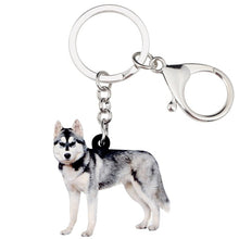 Load image into Gallery viewer, Acrylic Siberian Husky Dog Keychains Jewelry Animal Pendants Key Rings Ornaments Bags Purse Car Key Chains Decoration For Women Girls Ladies Teens Fashion Accessories Charms Gifts