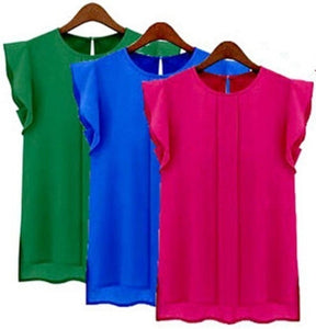 3 Colors Women Fashion  Sleeveless Chiffon Blouse Solid Women Chiffon Tops Blouse Shirt