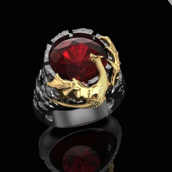 Personality Domineering 18k Gold Plated Two-tone Dragon Ruby Gemstone Stainless Steel Rings for Men Women Hip Hop Punk Style Birthday Anniversary Gift Party Banquet Cocktail Ring Size 6-13