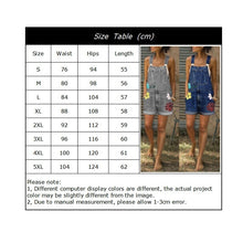 Load image into Gallery viewer, Plus Size Women Ladies Fashion Sleeveless Washed Denim Jumpsuit Bib Pants Overalls Floral Print Shorts Jeans Jumpsuit Rompers