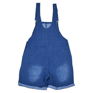 Plus Size Women Ladies Fashion Sleeveless Washed Denim Jumpsuit Bib Pants Overalls Floral Print Shorts Jeans Jumpsuit Rompers