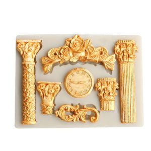 KUXSE 3D Roman Pillars Silicone Cake Mold Fondant Cake Decorating Tools Sugarcraft Clock Flower Chocolate Gumpaste Mold