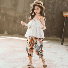 Load image into Gallery viewer, Summer Clothes For Girls Solid Vest + Floral Pants 2PCS Costumes For Girls Teenage Kids Girls Clothes Set 6 8 10 12 13 14 Year