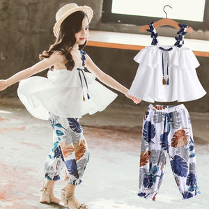 Summer Clothes For Girls Solid Vest + Floral Pants 2PCS Costumes For Girls Teenage Kids Girls Clothes Set 6 8 10 12 13 14 Year