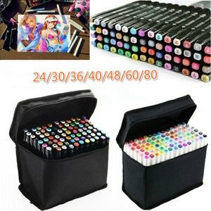 24/30/36/40/48/60/80 Colors Art Markers Set Dual Head Alcohol Sketch Markers Pen For Manga Drawing Markers Design Supplies_MAR