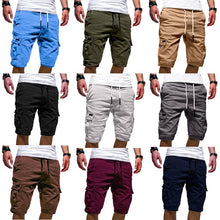 将图片加载到图库查看器,Men's Casual Solid Color Beach Shorts Elastic Wasit Cargo Shorts(XS-3XL,9 Colors)