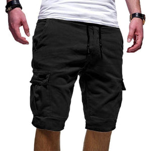 Men's Casual Solid Color Beach Shorts Elastic Wasit Cargo Shorts(XS-3XL,9 Colors)