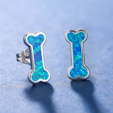 Load image into Gallery viewer, Cute Small Dog Bone Stud Earrings Fashion Female 925 Sterling Silver Blue Opal Earrings Tiny Stud Earrings for Women Party Jewelry