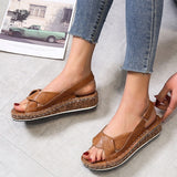 New Women Leather Sandals Open Toe Shoes Ladies Fashion Plus Size Low Heeled Sandals