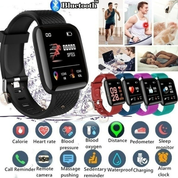 2020 116 Plus New Smart Watch Bluetooth Sports Watch USB Rechargeable Heart Rate Oxygen Pressure Sleep Monitor Blood Pressure Passometer Alarm Clock Wristwatch Wearable Device for IOS Android Phone
