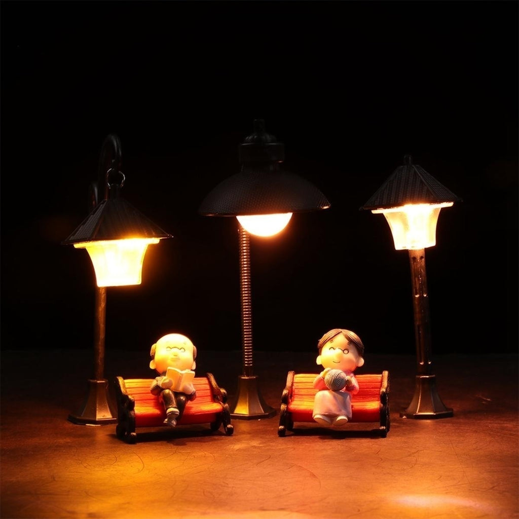 Resin Craft Micro Landscape Home Decor Fairy Garden Miniatures Street Lamp Figurine Streetlight Road Light Model